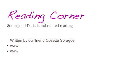 Reading Corner Some good Dachshund related reading   Farewell to Fritzie